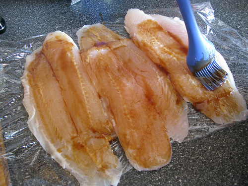 making teriyaki stuffed fish...