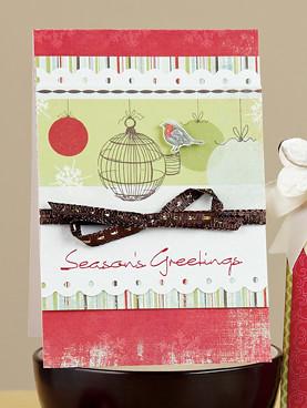 Rae Barthels Birdcage Seasons Greetings Card