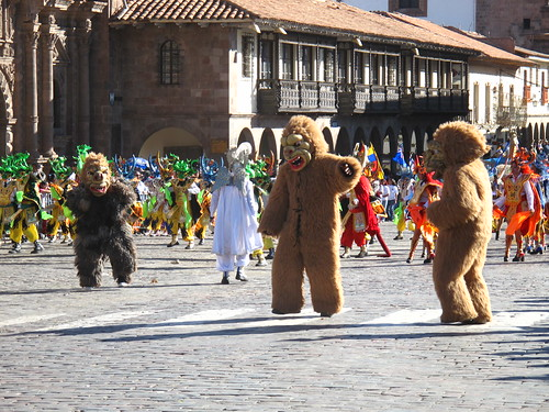 Dancing bears (from Puno, apparently) in the Plaza de Armas