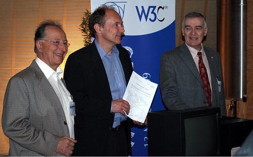 Ben Seagal, Tim Berners-Lee and Robert Calliau with the WWW proposal and first webserver at the WWW@20 celebrations, CERN