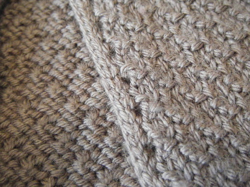 hood detail - purl twist with crochet edging