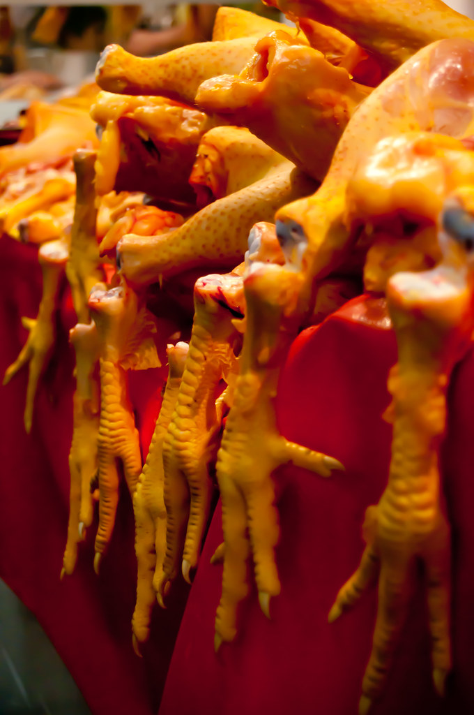Chicken feet in a market