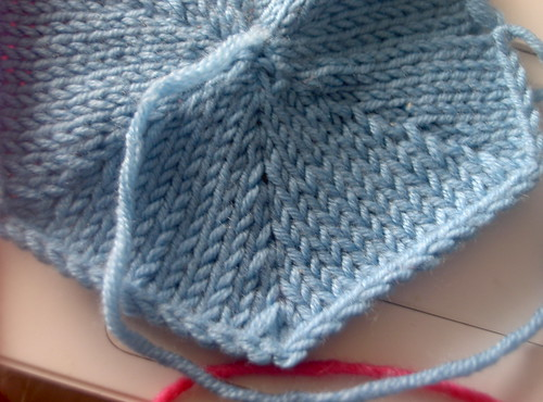 Blue knitted hexagon