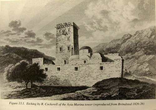 Χαρακτικό του Άγγλου Αρχιτέκτονα-Αρχαιολόγου-Εξερευνητή Charles Robert Cockerell που μας θυμίζει πόσο όμορφο ήταν το μνημείο του Πύργου το 1826! By courtesy of Dr. Jack L. Davis, ASCSA.