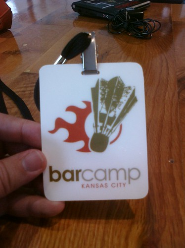 Front of the BarCampKC Badge