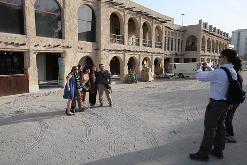 Students pose outside the Souq Market.