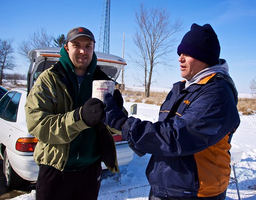 Jeff awards Rob the 1st place travelling trophy