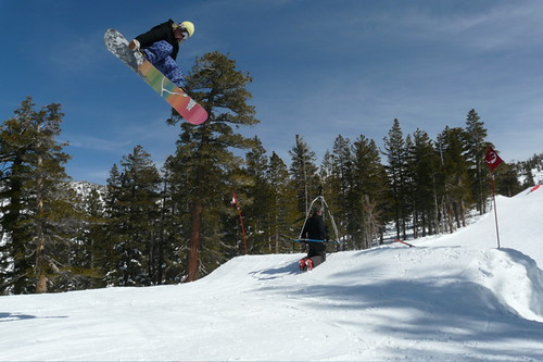 snowboarder park huck