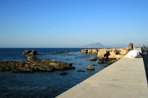 Looking at Sicily from Favignana Island, Sicily, Italy