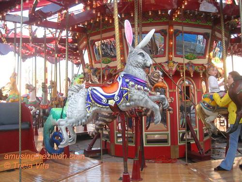 Rabbit figure on Butler Amusements Carousel currently at Dreamland, Coney Island.  Photo © Tricia Vita/me-myself-i via flickr