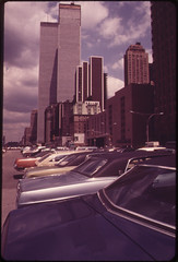 The Newly Constructed Towers of the World Trade Center Seen From the South Side on West Street 05/1973