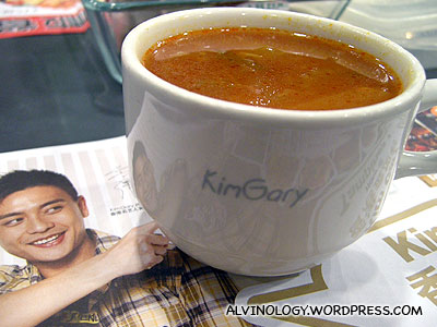 Soup is served in a mug