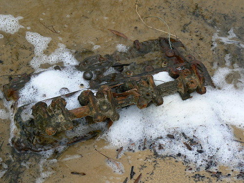 Newbold White House Recreation Trail - Car Fossil -  Rusted Car Part in Wave