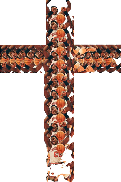 Conceptual Art, New York Knicks, Patrick Ewing on a cross by Alex Goldberg and Drew Blatman