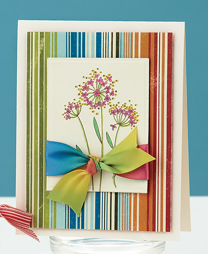 This Rainbow Stripes Card appears on p. 16 of Card Creations, Volume 7 . See what I mean with the ribbon?