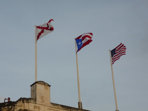 Flags at the San Cristobal fortress, San Juan