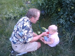 Abigail and Grandpa in Garden