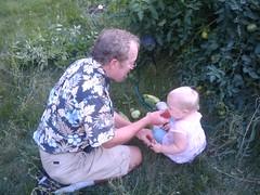 Abigail and Grandpa in Garden