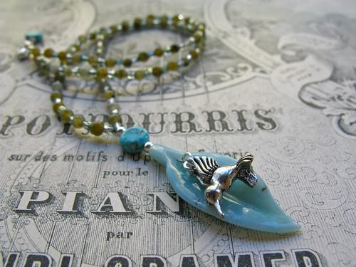 Hummingbird necklace in labradorite