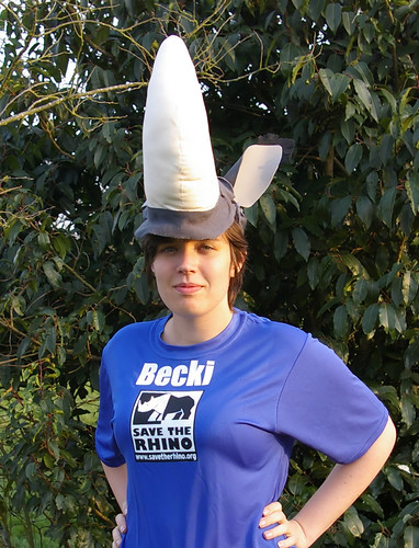 Me in my rhino hat and running t-shirt