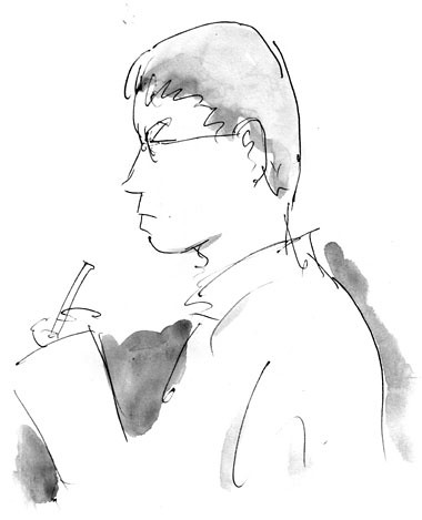 Sketch of Claude Lalumiere signing at Worldcon, Montreal