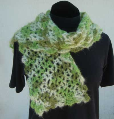 Lacy Crocheted Scarf in Knit Picks Suri Dream Emerald Isle color