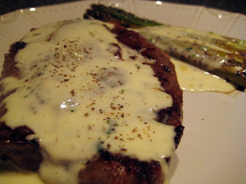 Grilled steak in Gorgonzola Cream Sauce
