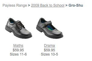 laceup shoe is called Maths, mary jane shoe is called Drama