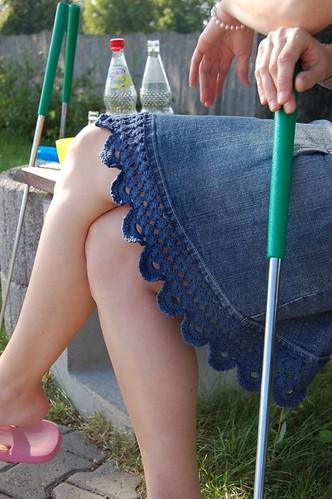 Crochet-Lace with Denim-Skirt