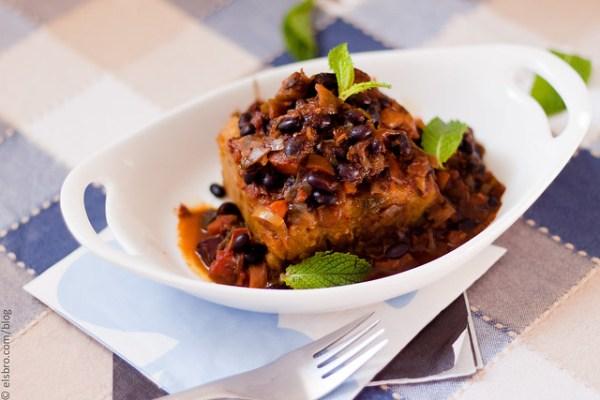 Baked Mash Potato w/ Black Beans & Salmon
