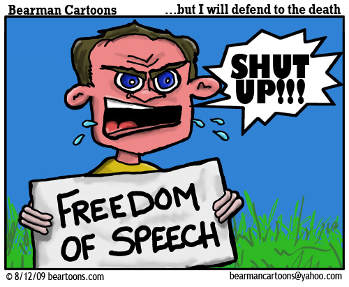 8 12 09 Bearman Cartoon Freedom of Speech