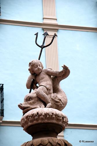 Fuente de Neptuno Niño en la Plaza del Consejo. Obra de Luis Paret.