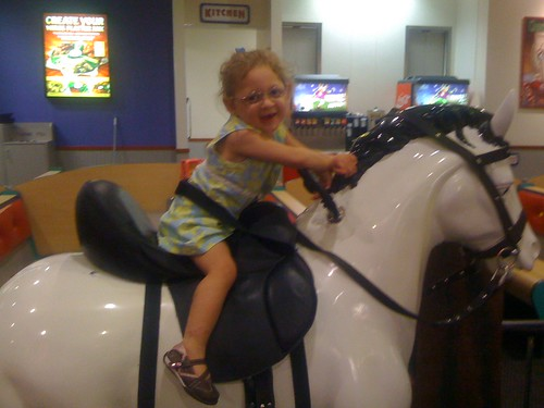 Looking like a super big girl riding a horse :)