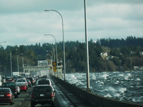 Evergreen floating bridge on a windy day