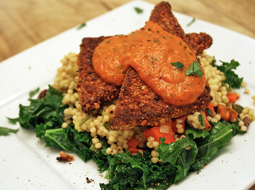 Cashew Crusted Tofu, Cous Cous, Kale