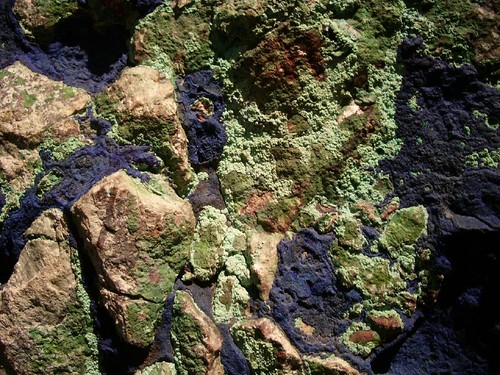 Malachite and azurite - copper ore. I love this because it looks like the earth from space.