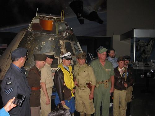 The Reenactors in front of the Apollo 9 spacecraft