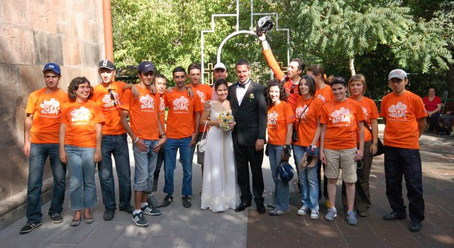 Outside the church after the wedding