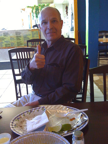 Papa de Burgersmoke giving his thumbs up approval of the Mexico City style Tacos al Pastor.