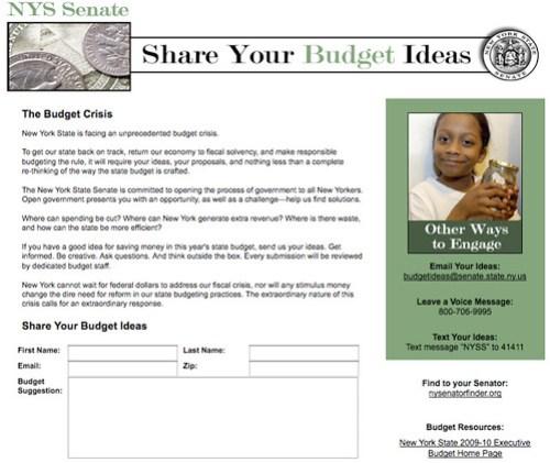 NYBudgetIdeas, Version 1