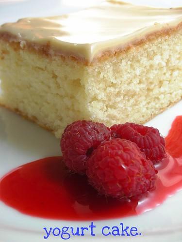 yogurt cake with red currant-raspberry sauce