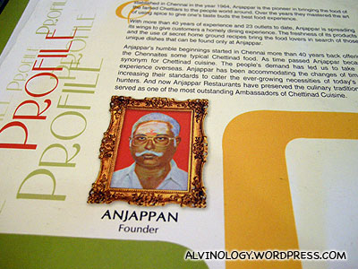A picture of Mr Anjappan, the restaurant founder, inside the menu