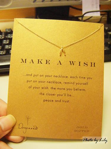 連同原廠卡片一起拍照的Make a wish許願骨項鍊。