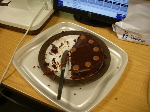 Sarahs chocolate cake. It didnt last long.