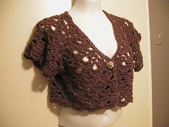 My mulberry bolero - I chickened out and stopped early - so cropped with short sleeves, but I like it!