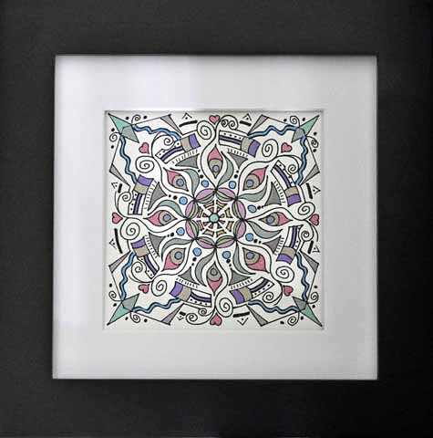 mandala 14 (framed) marker & ink on paper (c) 2009 Lynne Medsker