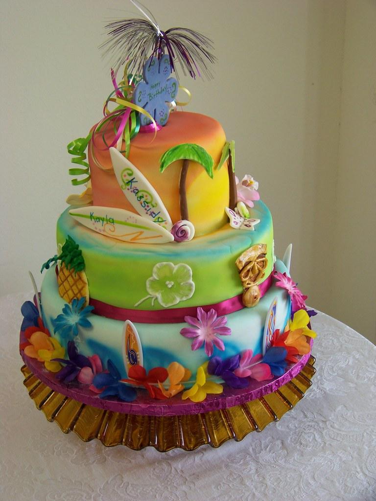 Tremendous Hawaiian Themed Wedding Cakes Luau Beach Cake 1021 Hawaiian Funny Birthday Cards Online Bapapcheapnameinfo