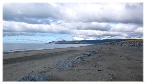 On the spit beach looking back toward Homer, AK.