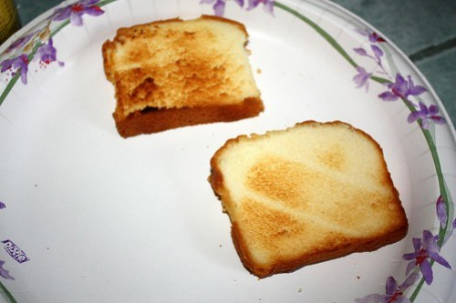 "pound cake ""white bread,"" toasted"