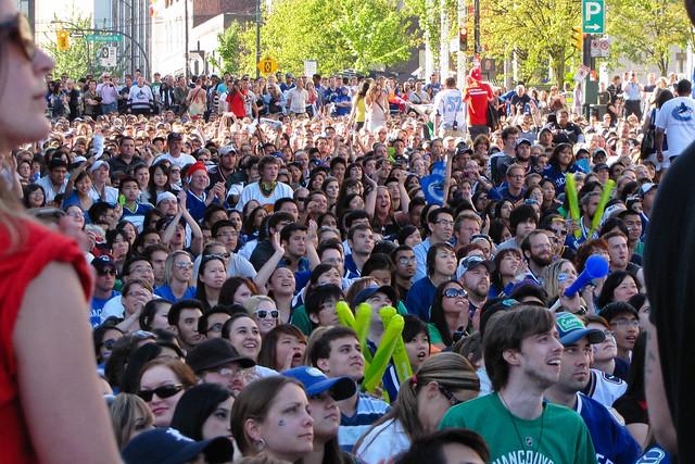 Canucks fan zone on Georgia Street
